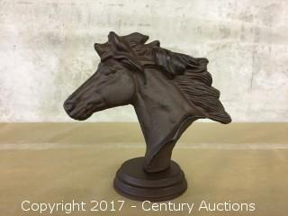 Ornamental Cast Iron Horse Head Statue