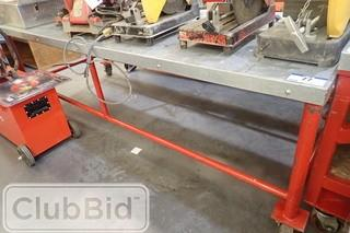 Approx. 7 1/2' x3' Mobile Metal Shop Table.