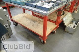 """Approx. 55""""x24"""" Mobile Metal Shop Table."""