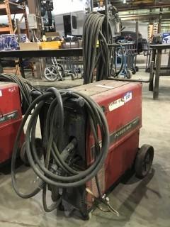 Lincoln Electric Power Mig 255C Mig Welder w/ Cart, Hoses, Gun etc.