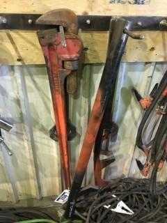 "Lot of 40"" Pipe Wrench and Asst. Shop Built Camlock Wrenches"