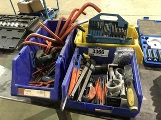 Lot of Asst. Allen Keys, Drill Bits, Riveter, Boring Bits, Ridgid Pipe Cutter etc.