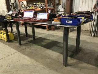 "48"" X 98"" Steel Shop Built Table w/ Bench Vise"