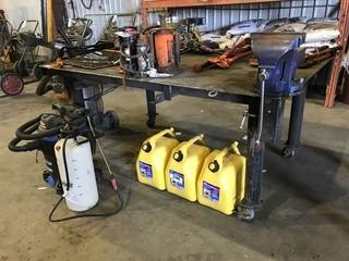 """48"""" X 70"""" Steel Shop Built Table on Casters w/ Bench Vise"""