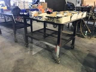 "48"" X 60"" Steel Shop Built Table w/ Bench Vise"