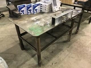 "40"" X 60"" Steel Shop Built Table w/ Bench Vise"