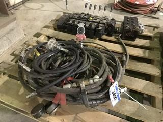 Pallet of Hydraulic Manifold and Asst. Hydraulic Hoses w/ Gauges