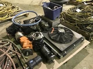 Pallet of Asst. Power Take Offs, Hydraulic Rams, Cooling Radiator, Hydraulic Motors etc.