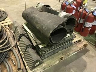 Pallet of Asst. Wheel Chalks, Mud Flaps, Rubber Matting, etc.