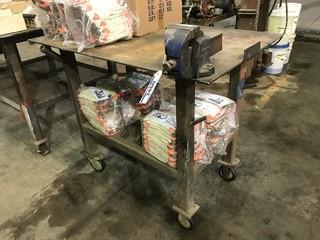 """30"""" X 48"""" Mobile Steel Shop Built Table"""