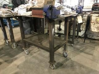 "30"" X 48"" Mobile Steel Shop Built Table w/ Bench Vise"
