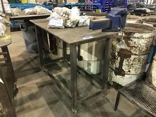 "24"" X 48"" Mobile Steel Shop Built Table w/ Bench Vise"