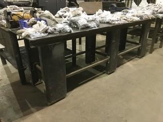 "30"" X 120"" Steel Shop Built Table w/ Bench Vise"