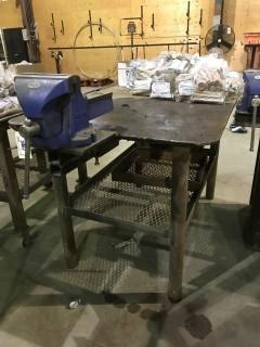 "40"" X 60"" Steel Shop Built Table w/ 8"" Bench Vise"