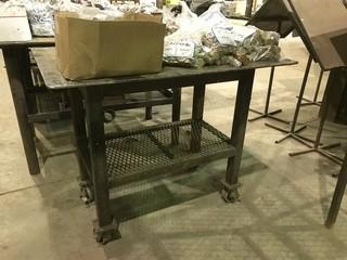 """32"""" X 48"""" Mobile Steel Shop Built Table"""