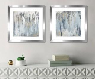 Ivy Bronx 'Blue Illusion Square I' 2 Piece Framed Acrylic Painting Print Set (IVBX2321)