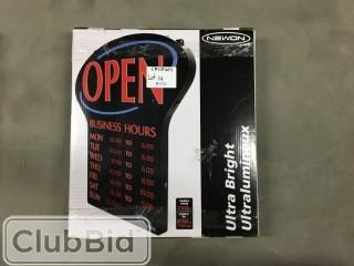 Newon LED Open Sign w/Business Hours