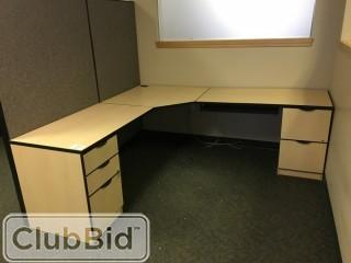 L-Shaped Desk 6'x6' w/5 Drawers & Lateral Filing Cabinet