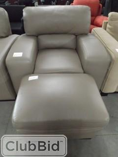 Modesto Leather Arm Chair & Ottoman & Three Seat Sofa Leather In Grey/Brown