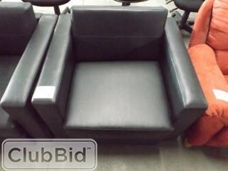 Qty of (2) Black Leather Arm Chairs