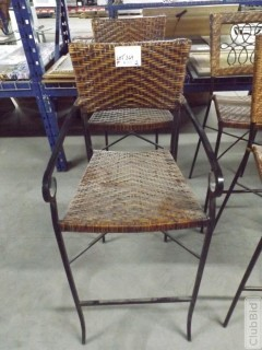 "Qty of (2) Wicker Armed Bar Stools 30"" At Seat"