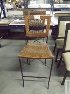 "Qty of (2) Wicker Bar Stools 30"" At Seat"