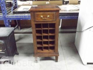 "Wood Wine Cabinet w/ Drawer. Holds 15 bottles. 17"" x 14"" x 41"""