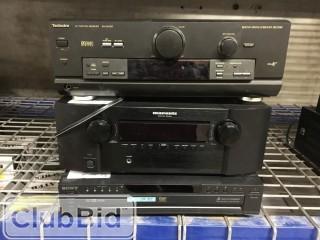 Technics SA-DX750 Receiver, Marantz SR4023 Receiver, and Sony DVP-NC625 Five Disc CD/DVD Player