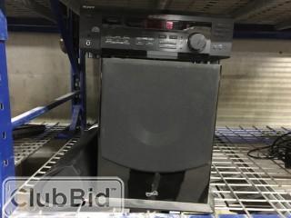 """Sony STR-DE345 Receiver, Sound Stage 10"""" Sub Speaker, and Polk Surround Sound Bar"""