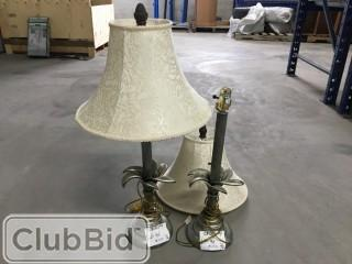 Qty of (2) Grey Decorative Lamps w/ Cream Shades