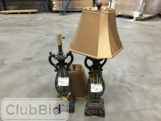 Qty of (2) Grey lamps w/ Gold Shades