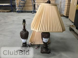 Qty of (2) Brown Lamps w/ Beige Shades