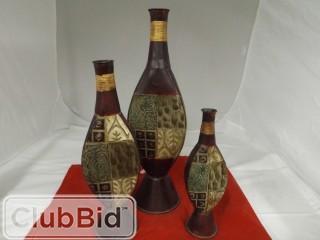 Qty of (3) Floor Vases Dark Brown w/ Design