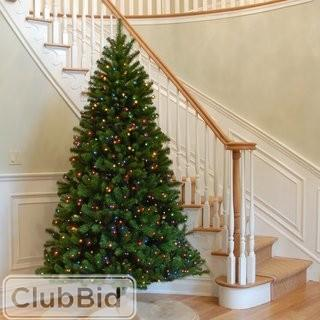 9' Three Posts Green Spruce Artificial Christmas Tree with Multicolor Lights (THPS3133_24259618)