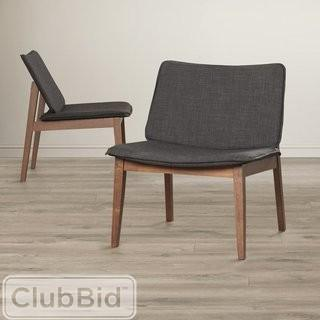 Langley Street Newburgh Modern Side Chair - Set of 2 - Walnut - Linen Espresso (LGLY4027)