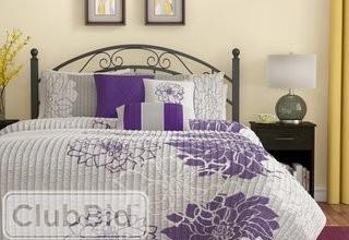 Red Barrel Studio Broadwell 6 Piece Reversible Coverlet Set  - King - Cal King - Grey Purple(RDBS3541_18861175_20257991)